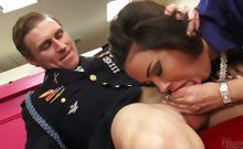 men in uniform love big tits
