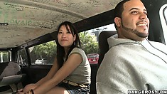 Slutty asian babe gets to know the guys who offered her a ride