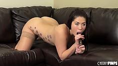 Surprising girl London Keyes poses in stockings and licks phallus