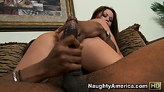 Kaci sucks that big black and climbs on to try and take it in her cunt