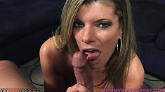 Hot babe with big hooters sucks and titty fucks, poses and chews meat
