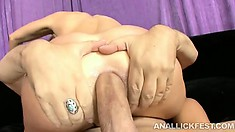 Blondie really enjoys tasting her girlfriend's ass on some dude's cock