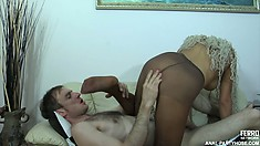 Ophelia offers Peter a tempting taste of her Euro twat covered in pantyhose
