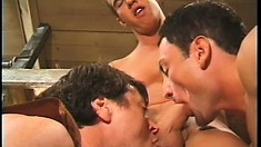 Redneck gays with stunning ripped bodies sucking cock in the barn