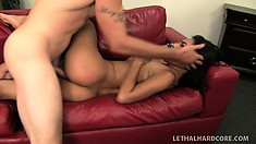 Hot little Asian babe is a ferocious cock sucker and gets her tight cunt nailed