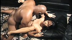 Gorgeous black bimbo gets taken hard from behind by a hung hunk