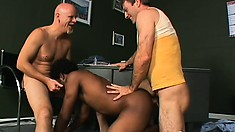 Hot black boy has two white dudes sucking his dick and drilling his tight ass