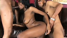 Curvaceous ebony girl with a heavenly ass and big boobs gets fucked by two black studs