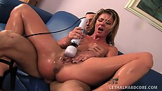 Sweet babe with a hot ass pleases her clit with a sex toy while a cock drills her twat