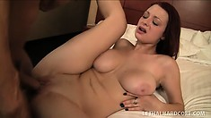 Stacked redhead Jessica Robbin bounces on a stiff cock with excitement and desire
