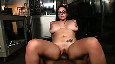 Hot and kinky office girl Selena gets her pussy filled with ebony creamstick