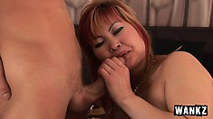 Hot older Asian red head gets big cock pumped into her dripping pussy