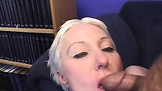 Short-haired blonde granny gets her holes pounded in a threesome