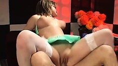 Breath-taking babe in green underwear gets her bubble ass pounded