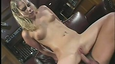 Blonde Brit tart fucks an older man and gets a dripping creampie