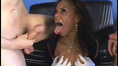 Pleasant hot stuff gets her filthy mouth penetrated by white dick