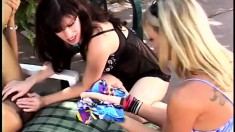 Sultry Sindee Coxx engages in lesbian sex with two wild milfs outside