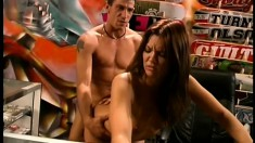 Skanky brunette bitch sucks him off in the skate shop and gets nailed