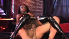 Latex fetish ebony chick gets her face covered in sticky cum
