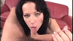 Sultry brunette milf in lingerie gets her ass drilled deep POV style