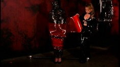 Dominant blonde mistress can do anything she likes to her sex slaves