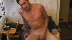 Marvelous dude bares his anus and slides upon huge cock without lube