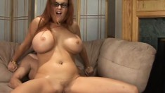 Enchanting cougar with tasty tits get her shaved pussy pricked