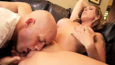 Scrupulous Derrick Pierce licks Serena's awesome shaved pussy