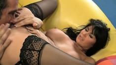 Eva Karera gives a guy a treat as she licks his butt and rides his rod