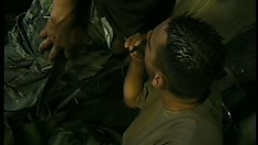 Latino military men love the taste of hot and steamy army dicks